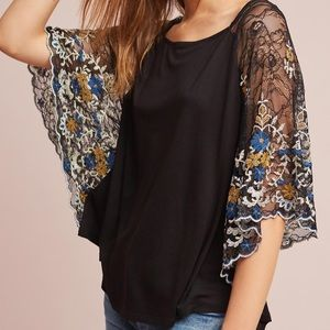 Anthropologie Akimi + Kin Black Lace Sleeve Top